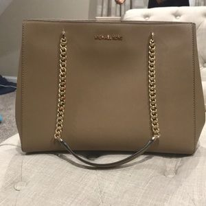 Khaki Michael Kors Ellis Large Tote [Leather]